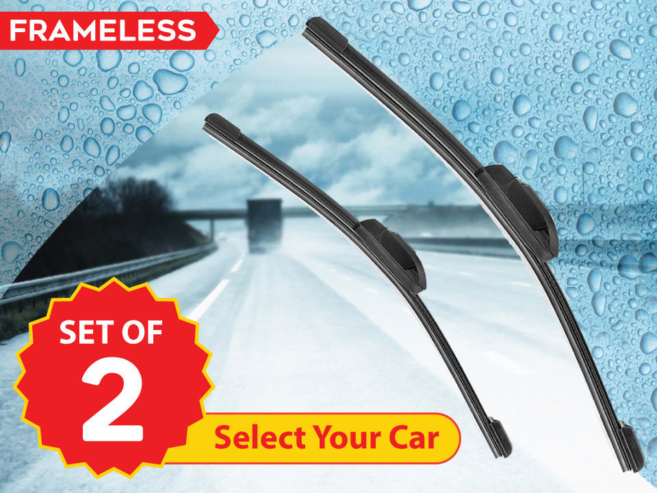 myTVS frameless car wipers for chatter-free wiping, maximum windshield contact, available at lowest price