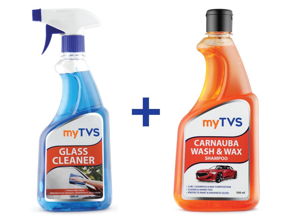 Buy online combo myTVS CC-GC1_CC-CWS1, Glass Cleaner and Carnauba Wash & Wax Shampoo.
